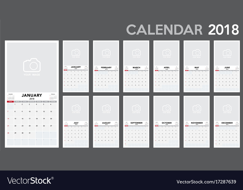 calendar 2018 template design royalty free vector image. Black Bedroom Furniture Sets. Home Design Ideas