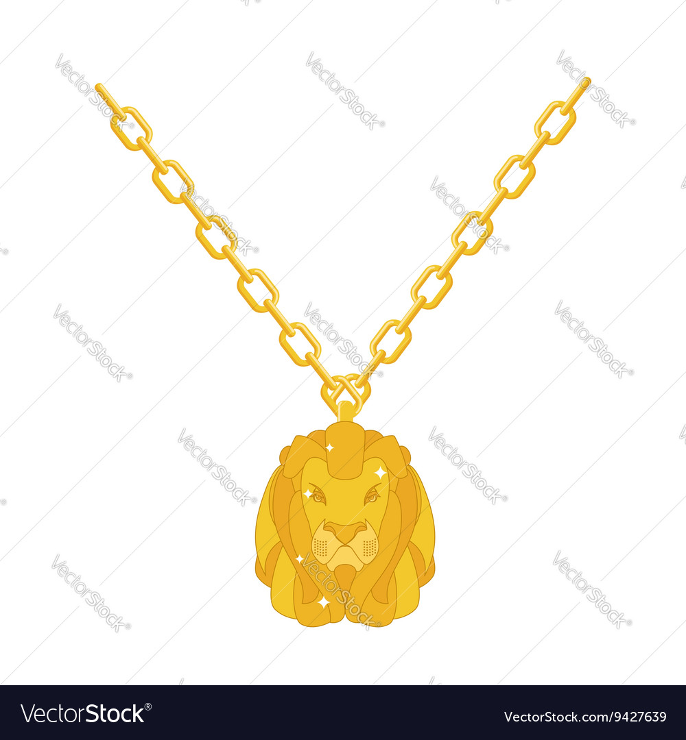 Golden lion necklace gold jewelry on chain vector image