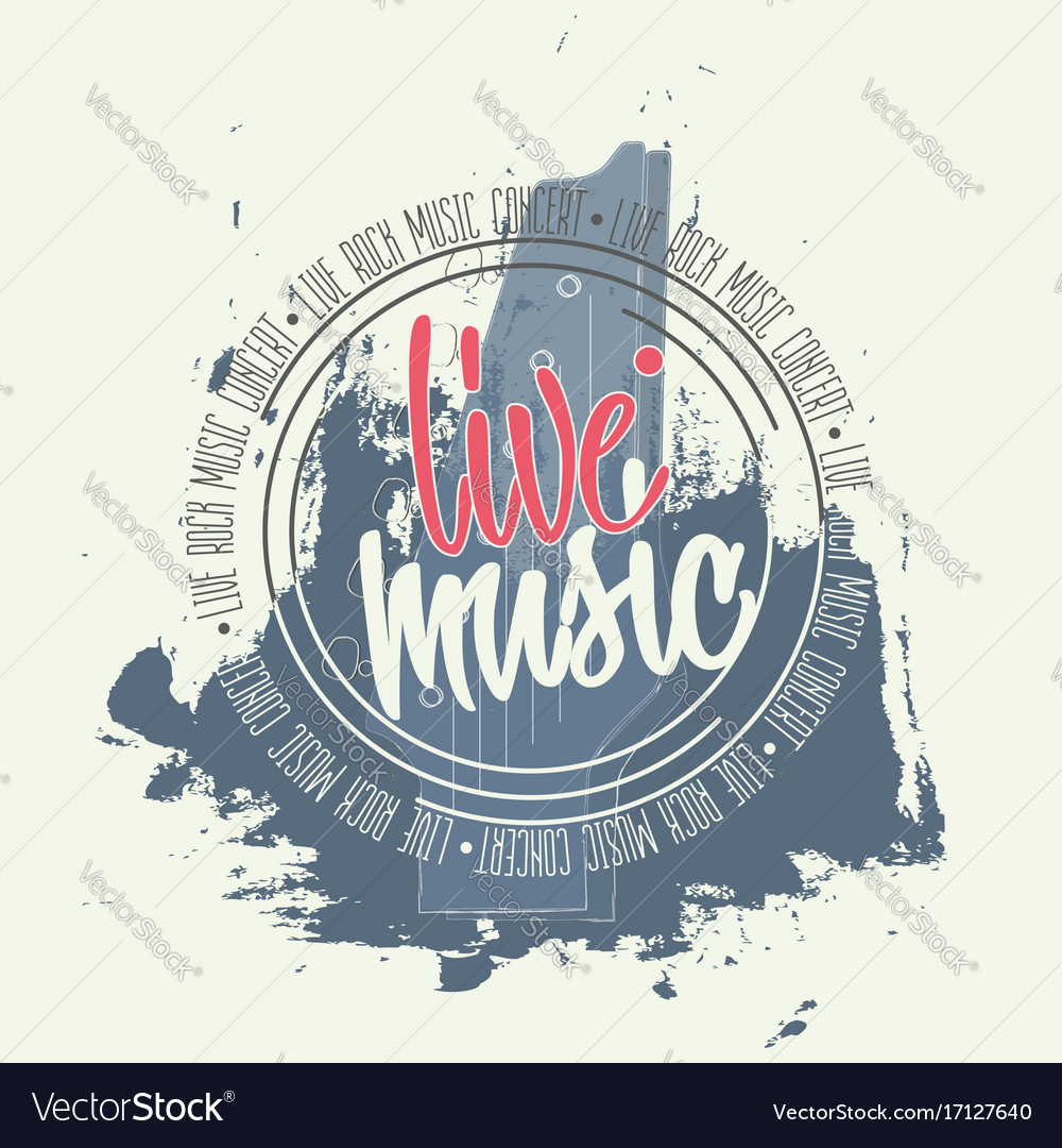 Banner with guitar and lettering around circle vector image