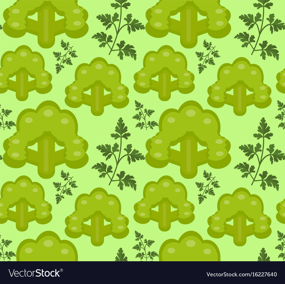 Broccoli seamless pattern healthy food endless vector image