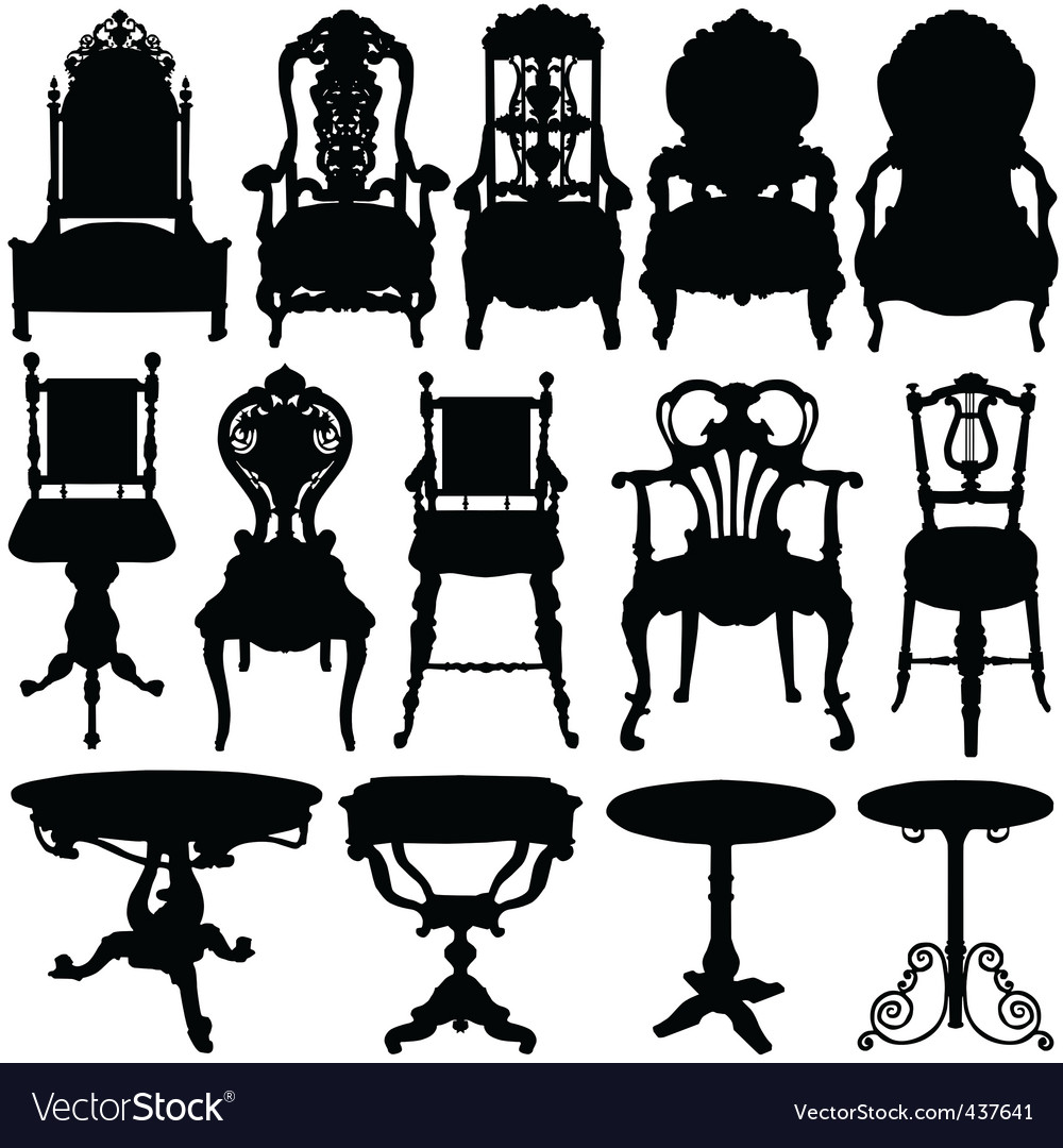 Antique chair and table vector image