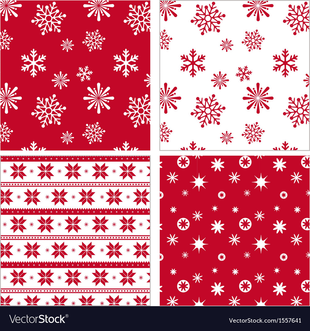 Set of red seamless snowflake pattern vector image