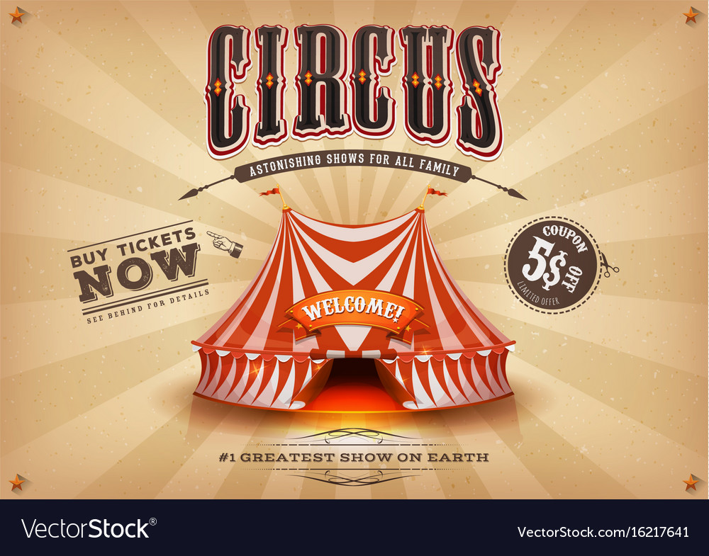 Vintage old horizontal circus poster vector image