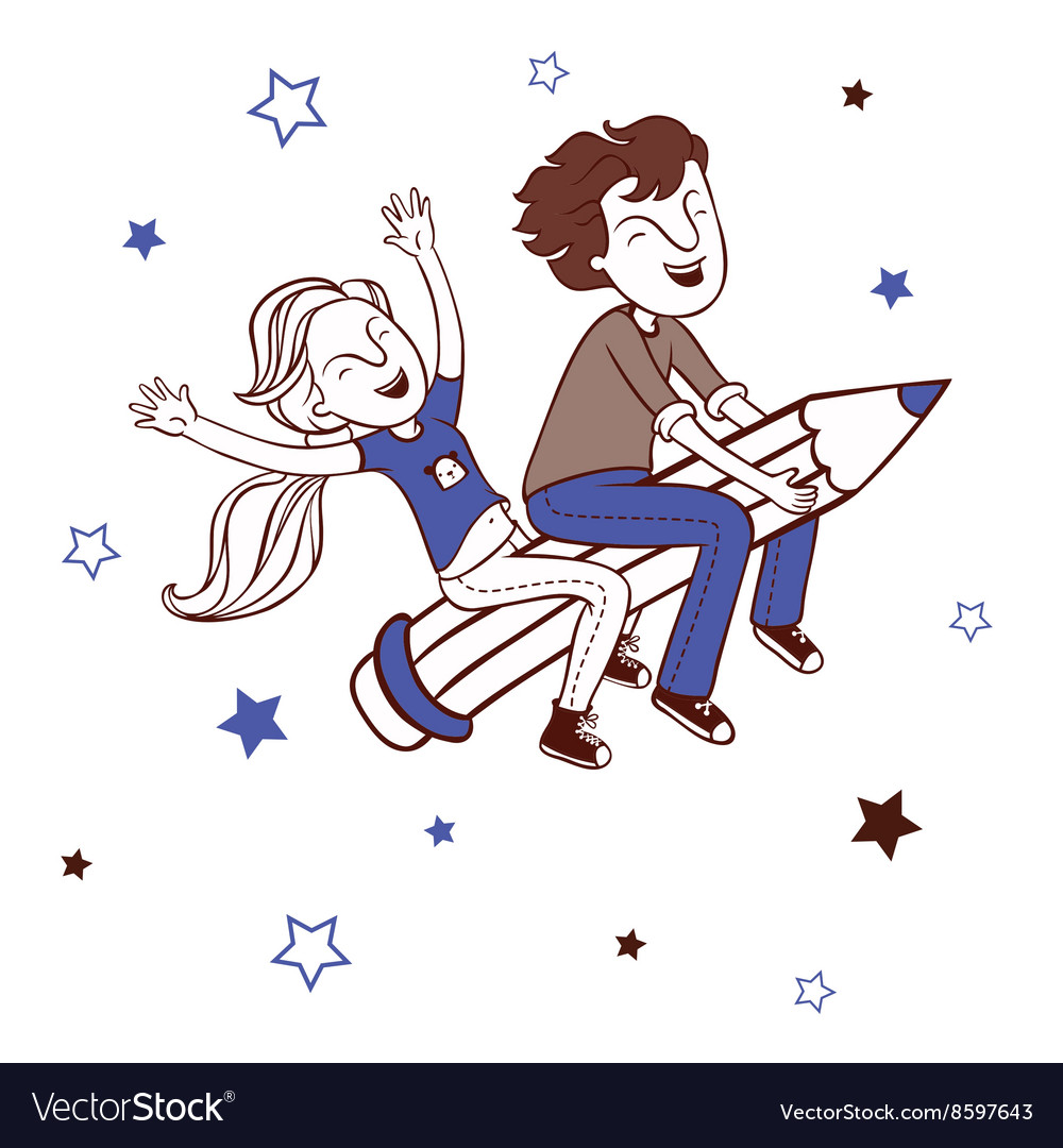 Boy and girl flying on a pencil vector image
