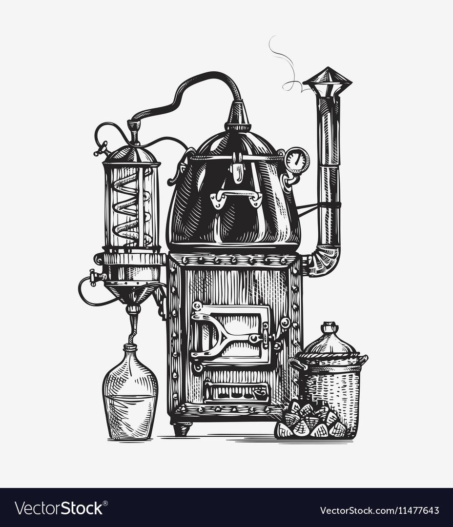 Distillation apparatus sketch Hooch vector image