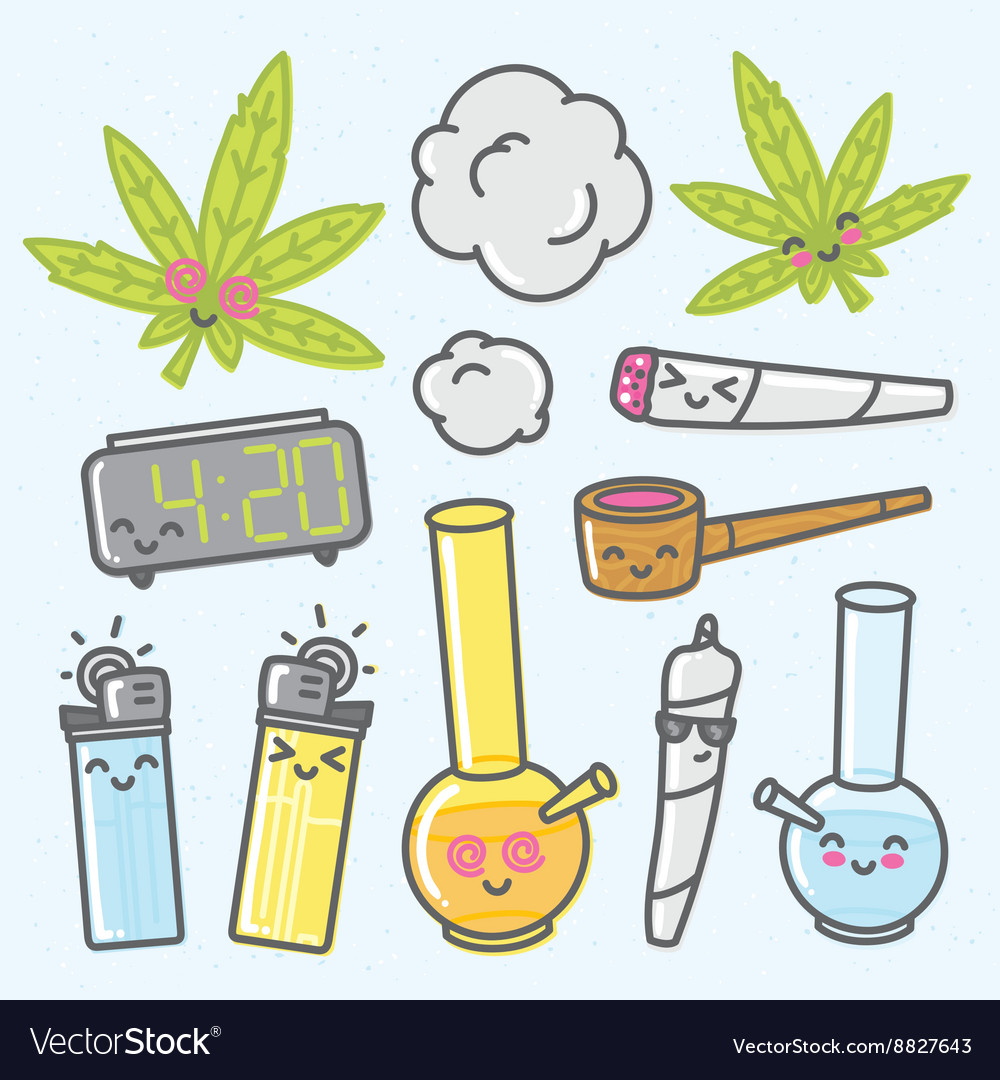 Marijuana kawaii cartoon objects pack vector image