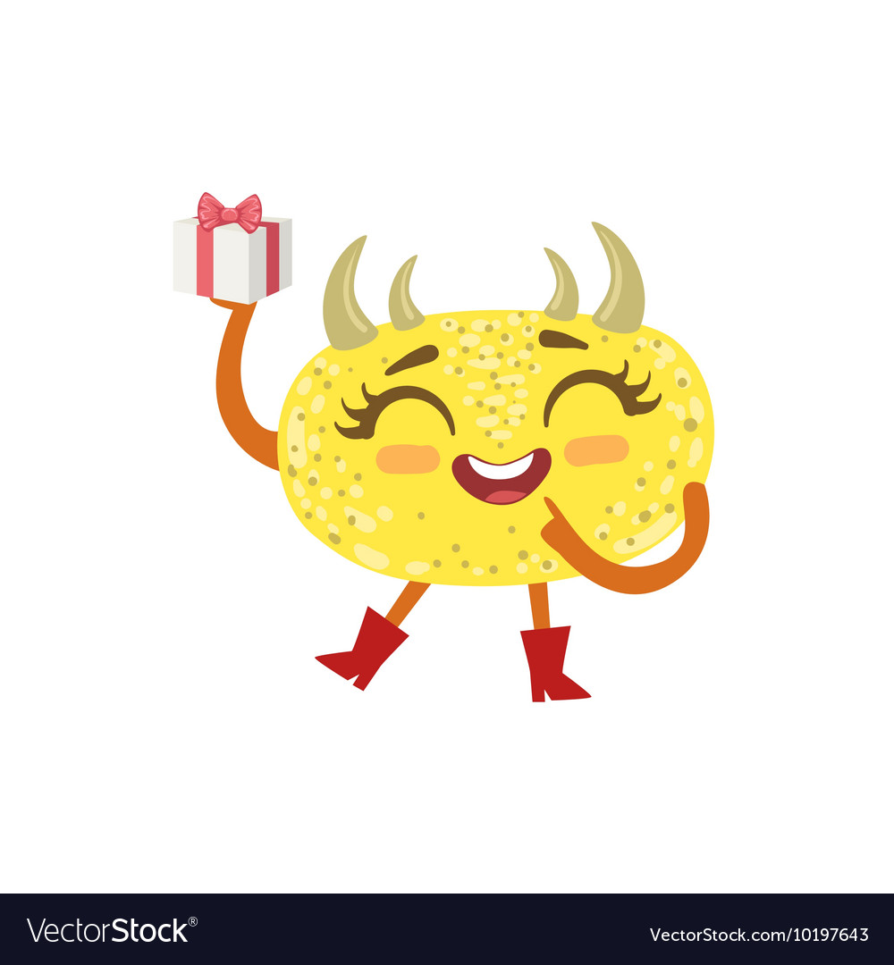 Yellow Friendly Monster With Hornes Wearing Red vector image