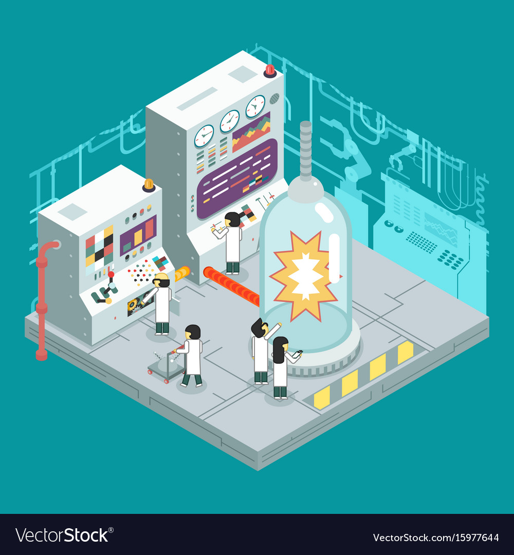 Isometric scientific laboratory experiment vector image