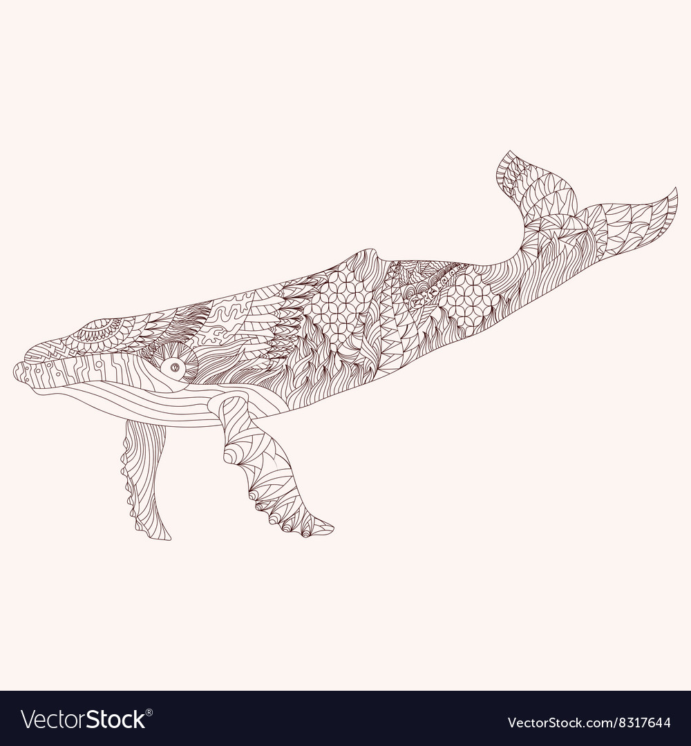 Patterned whale zentangle style Good for T-shirt vector image