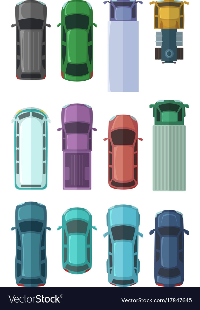 Different roofs of automobiles in the city top vector image