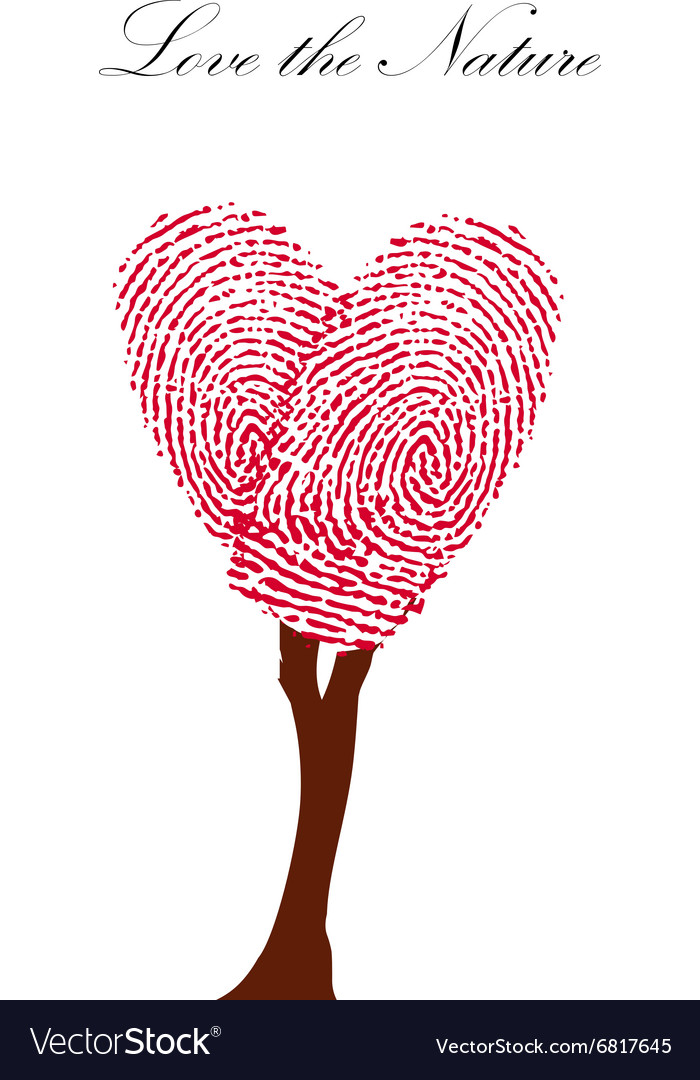 Heart pink tree with finger prints EPS vector image