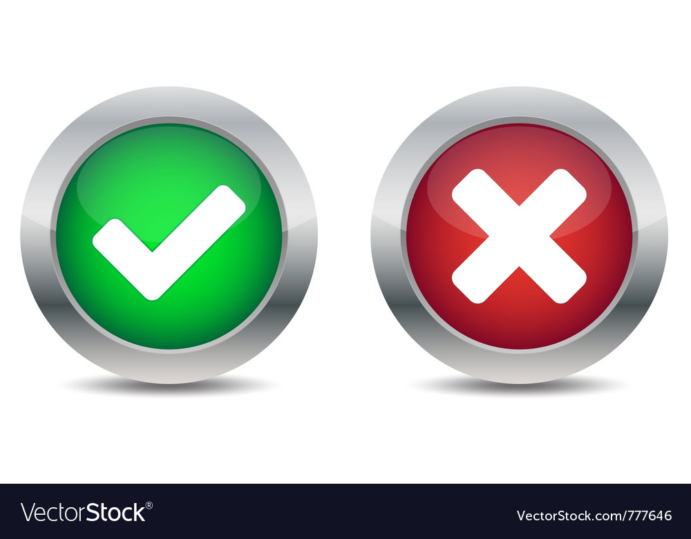 Approved and rejected buttons vector image