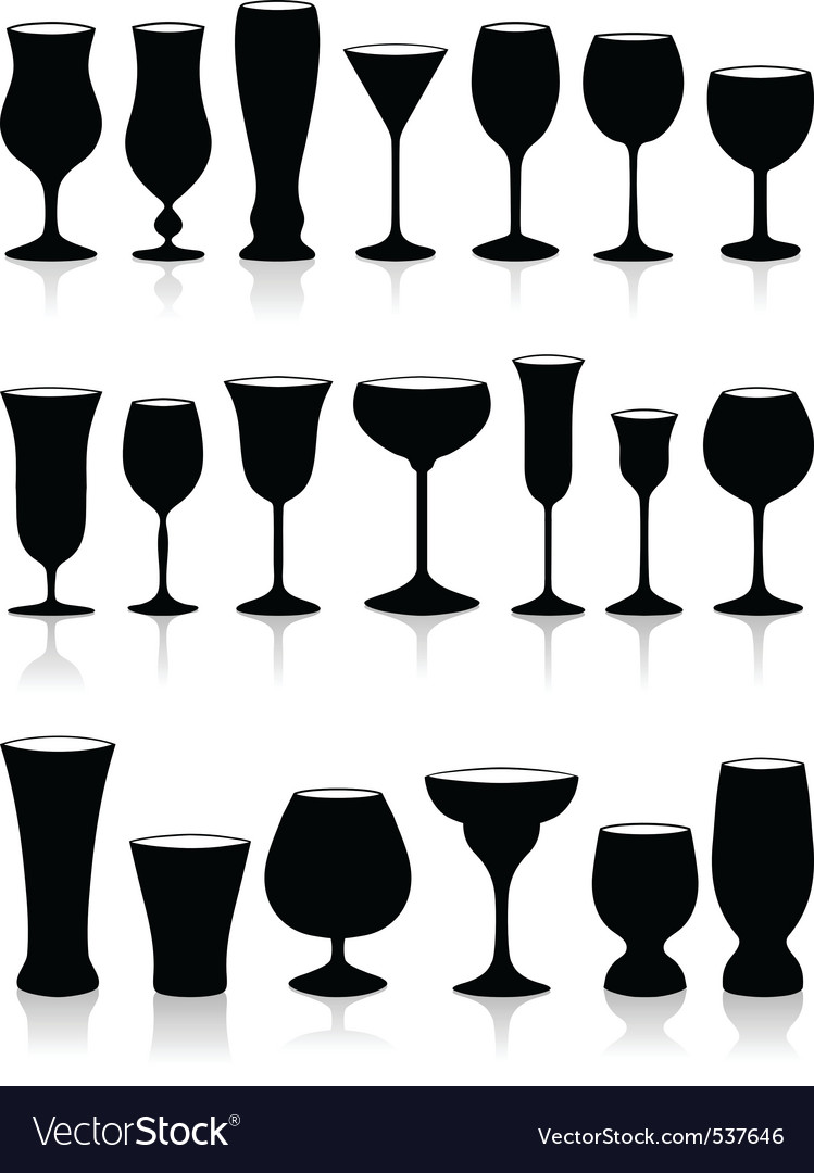 Set of glass vector image