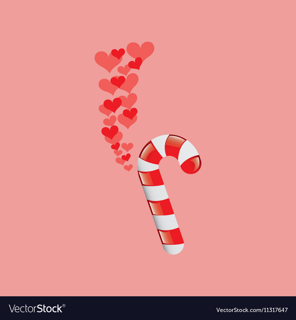 Heart cartoon candy cane sweet icon design vector image