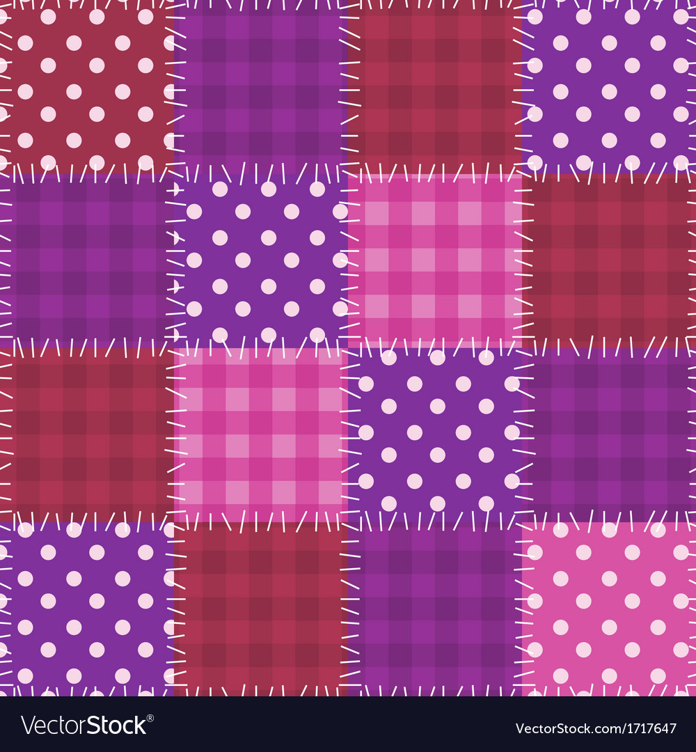 Seamless pink patchwork pattern vector image