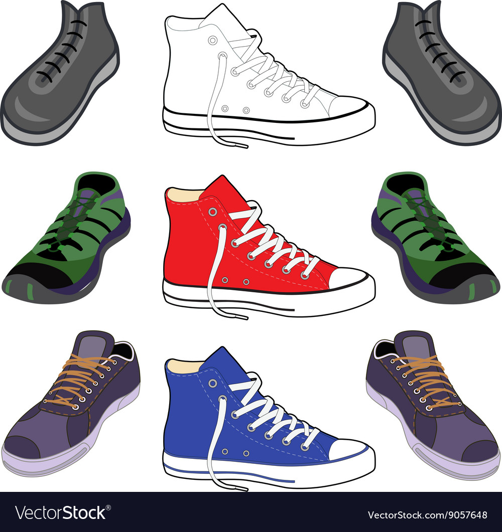 Black outlined colored sneakers shoes set front v vector image