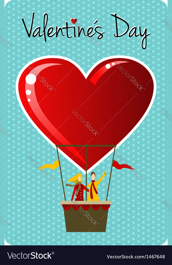 Couple in hot air balloon Valentines day greeting vector image