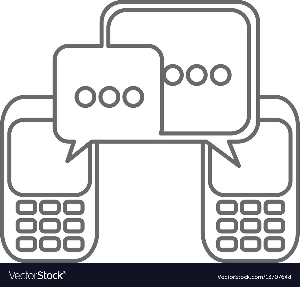 Grayscale silhouette of cell phones communication vector image