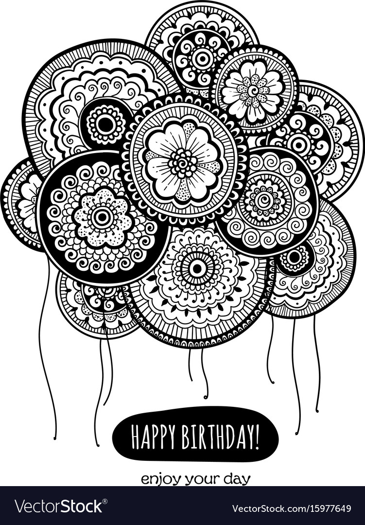 Happy birthday card with balloons indian pattern vector image