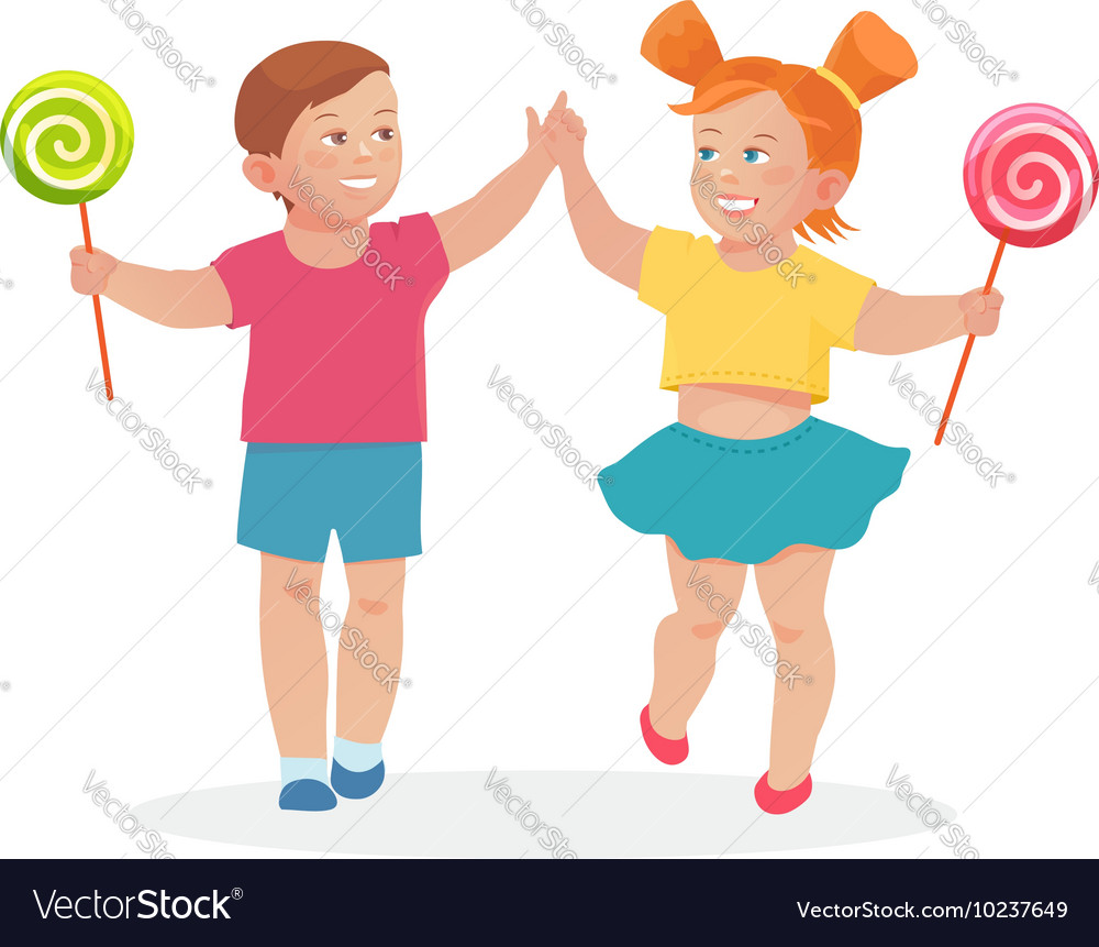 Little children boy and girl holding hands vector image