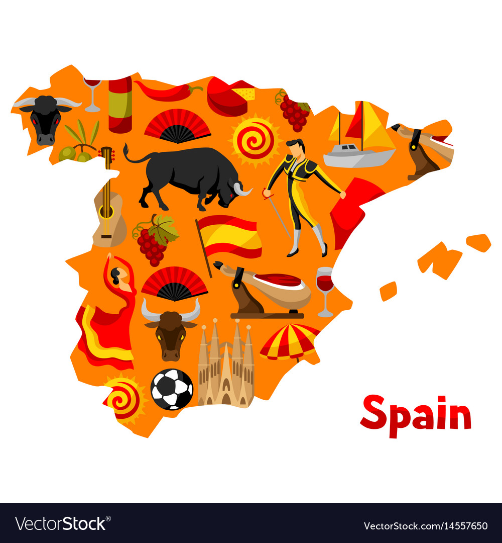 Map of spain background design spanish royalty free vector map of spain background design spanish vector image voltagebd Gallery