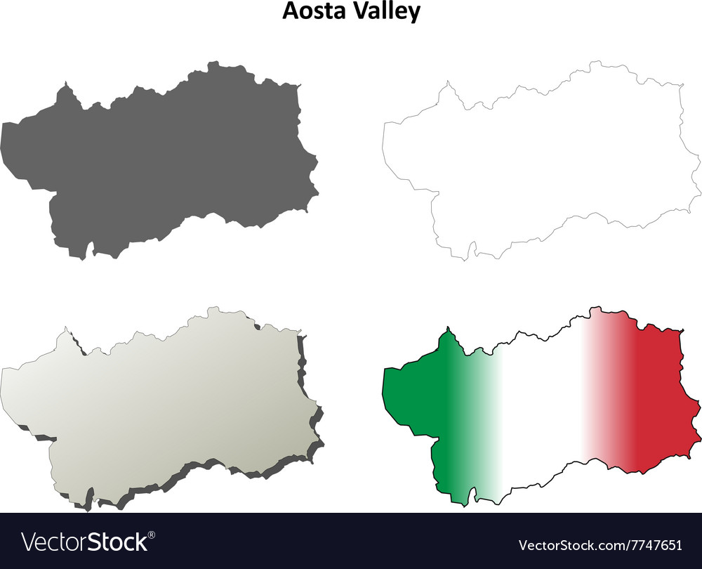 Aosta Valley blank outline map set Royalty Free Vector Image
