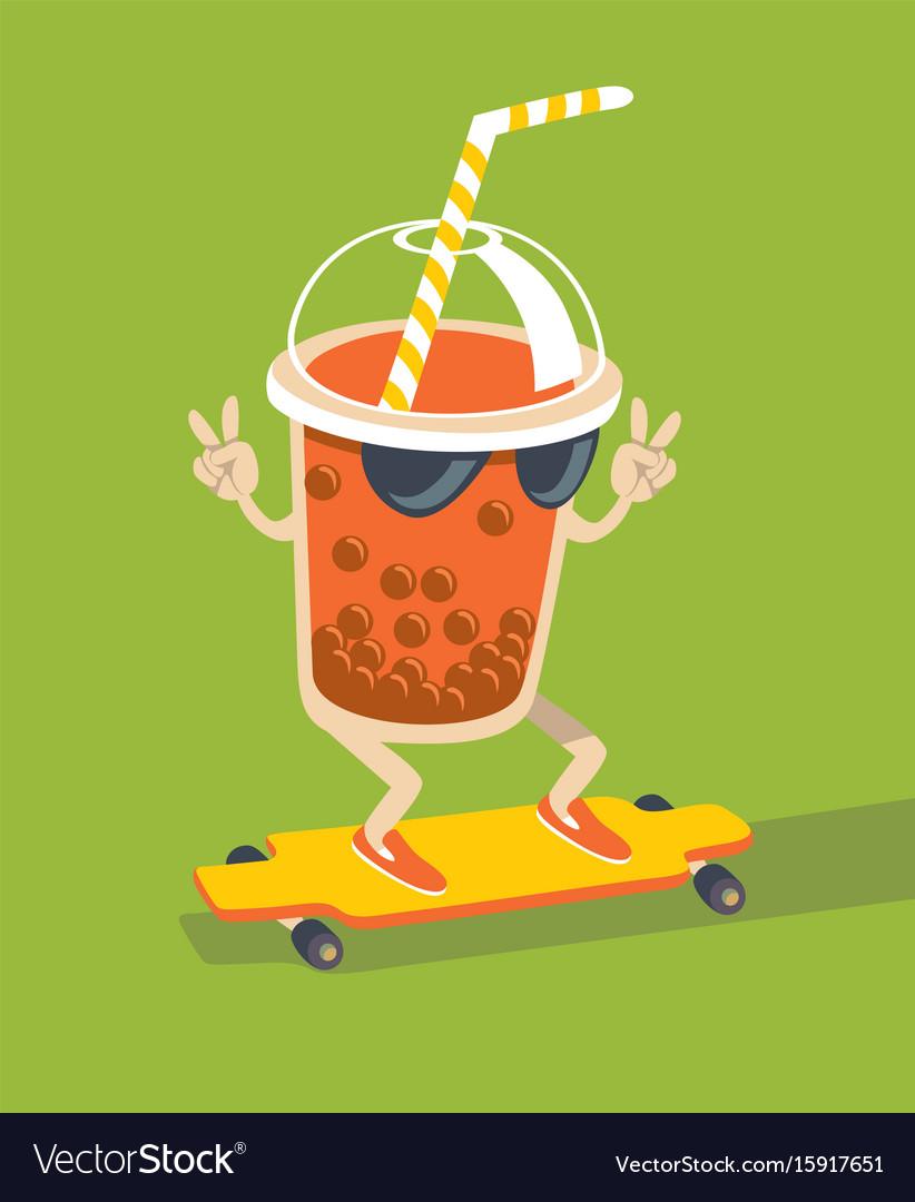 Bubble tea character vector image