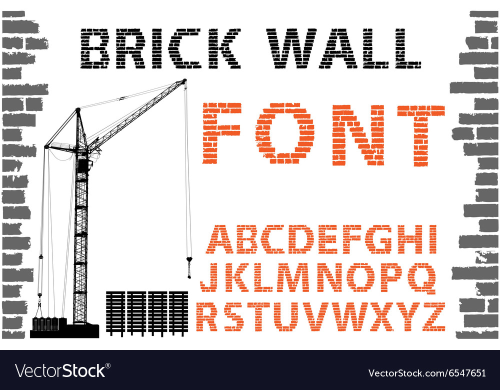 Orange decorative brick wall style font vector image