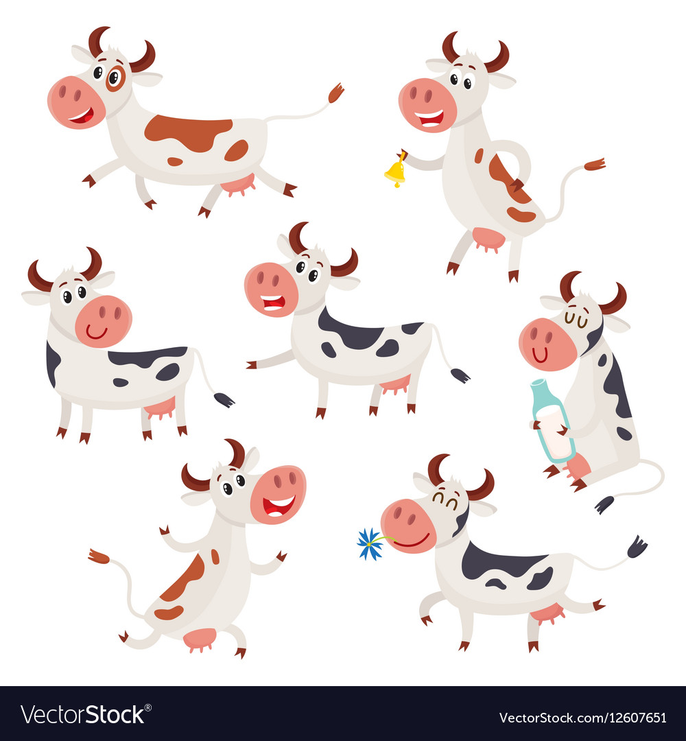 Set of funny spotted cow characters standing vector image
