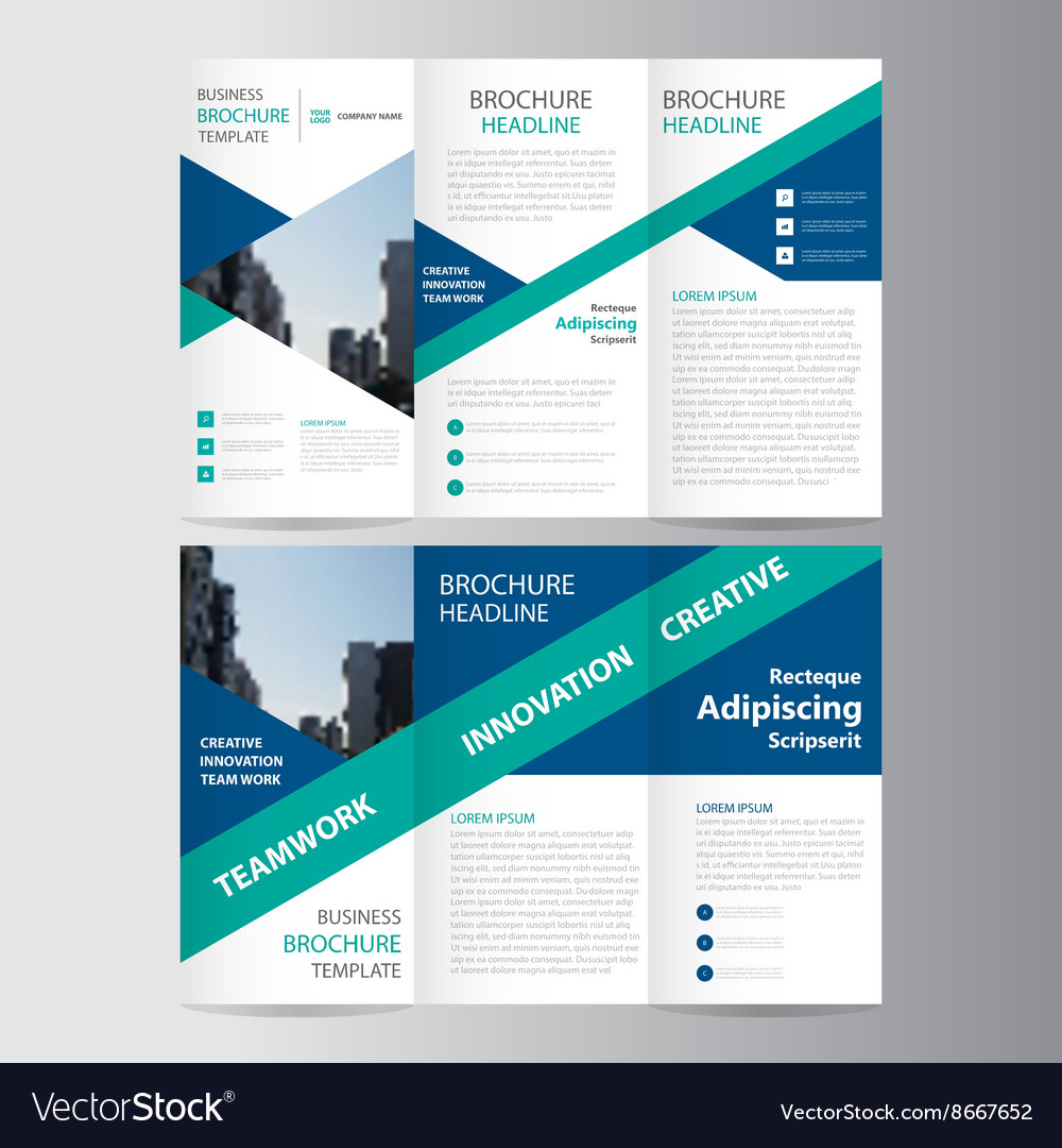 Blue green trifold Leaflet brochure flyer template Royalty Free – Blue Flyer Template