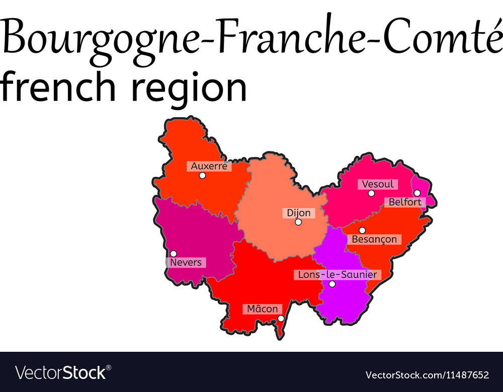 BourgogneFrancheComte french region map Vector Image