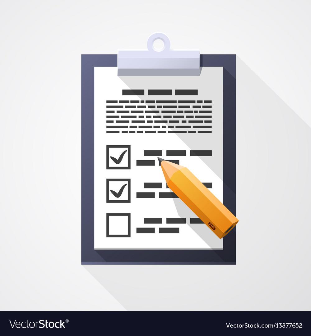 Survey flat icon pad document pencil vector image