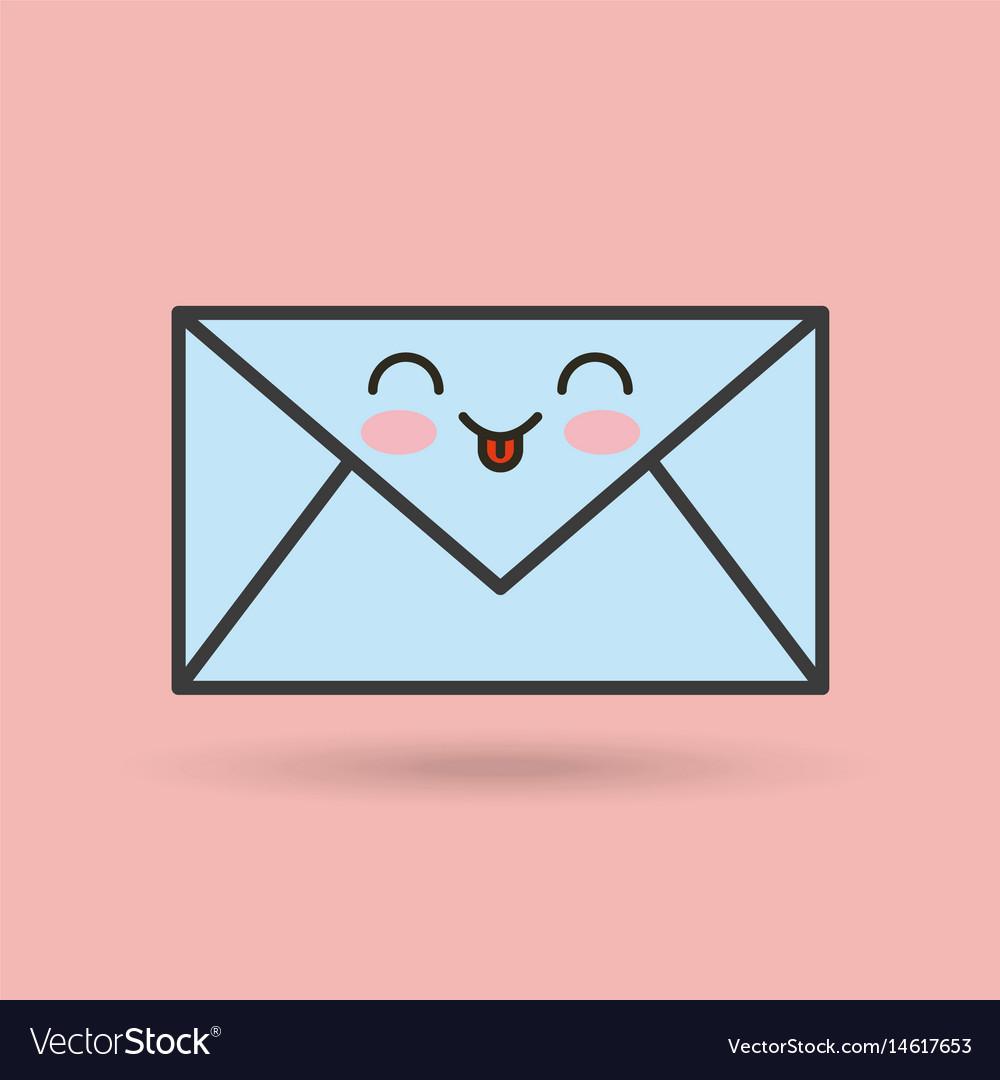 Envelope character kawaii style vector image