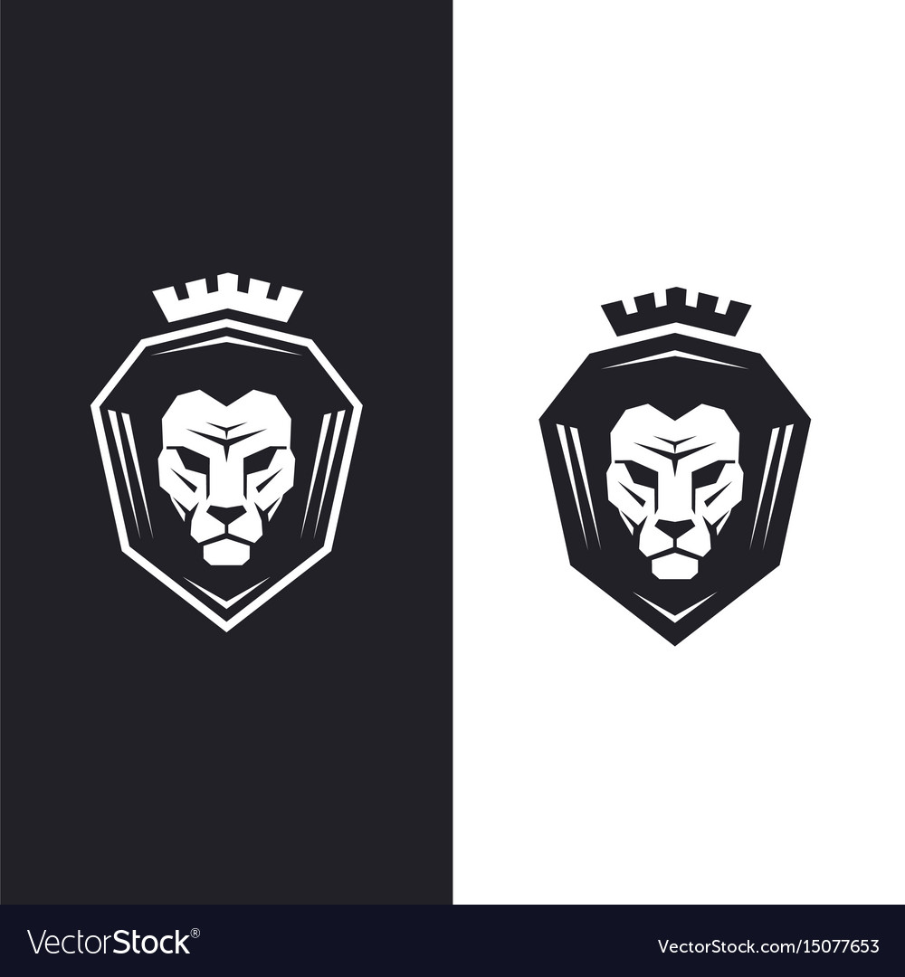 Lion head with king crown logo vector image