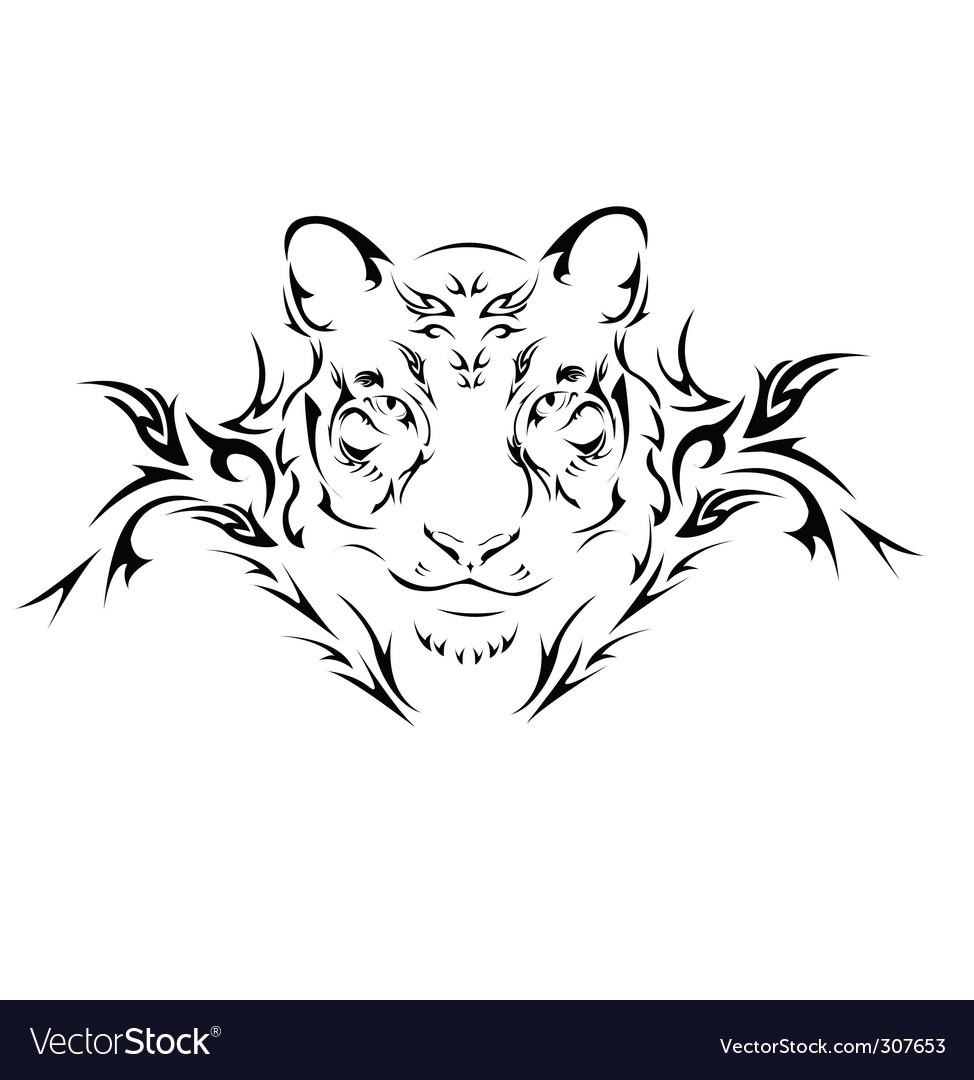Tattoo tiger vector image