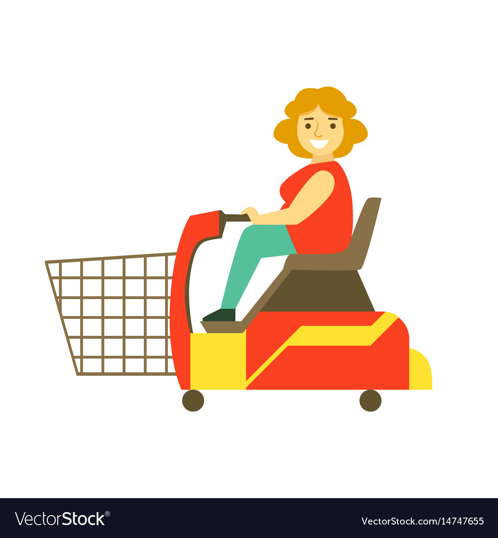 Handicapped shopping with mobility scooter vector image
