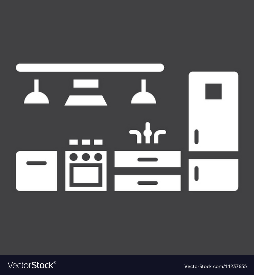 Kitchen furniture solid icon and interior vector image