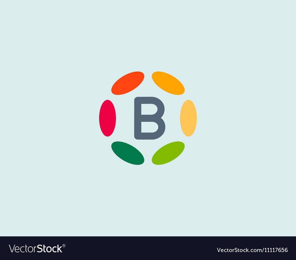 Color letter B logo icon design Hub frame vector image
