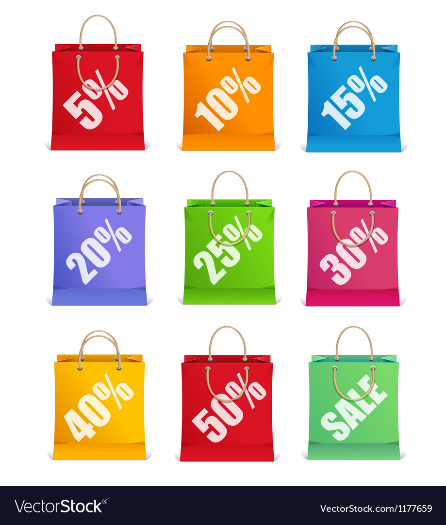 Sale labels like shopping bag vector image