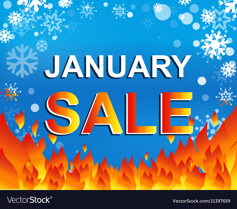 Big winter sale poster with JANUARY SALE text vector image