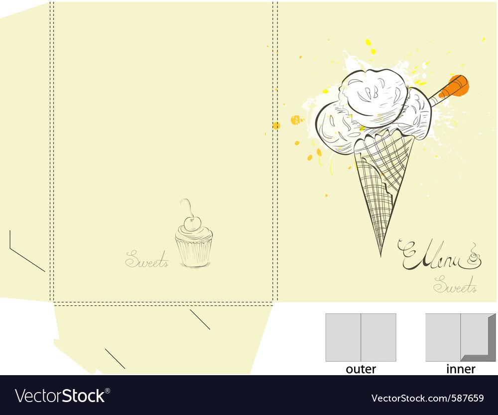 Ice cream folder template Royalty Free Vector Image