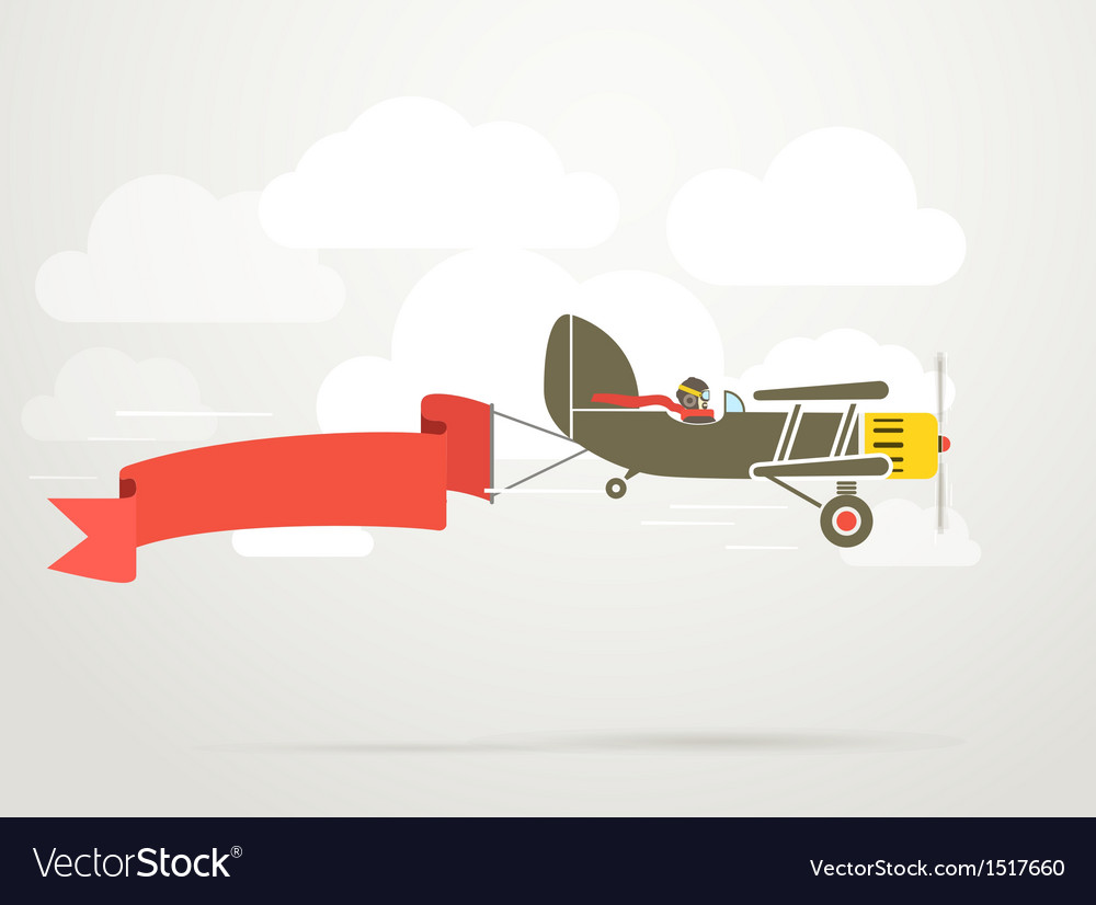 Flying vintage plane with the banner vector image
