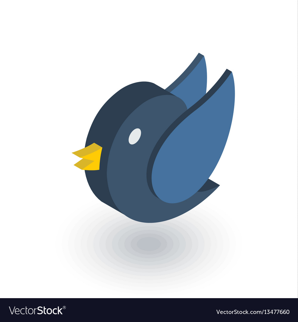Bird message symbol tweet isometric flat icon vector image