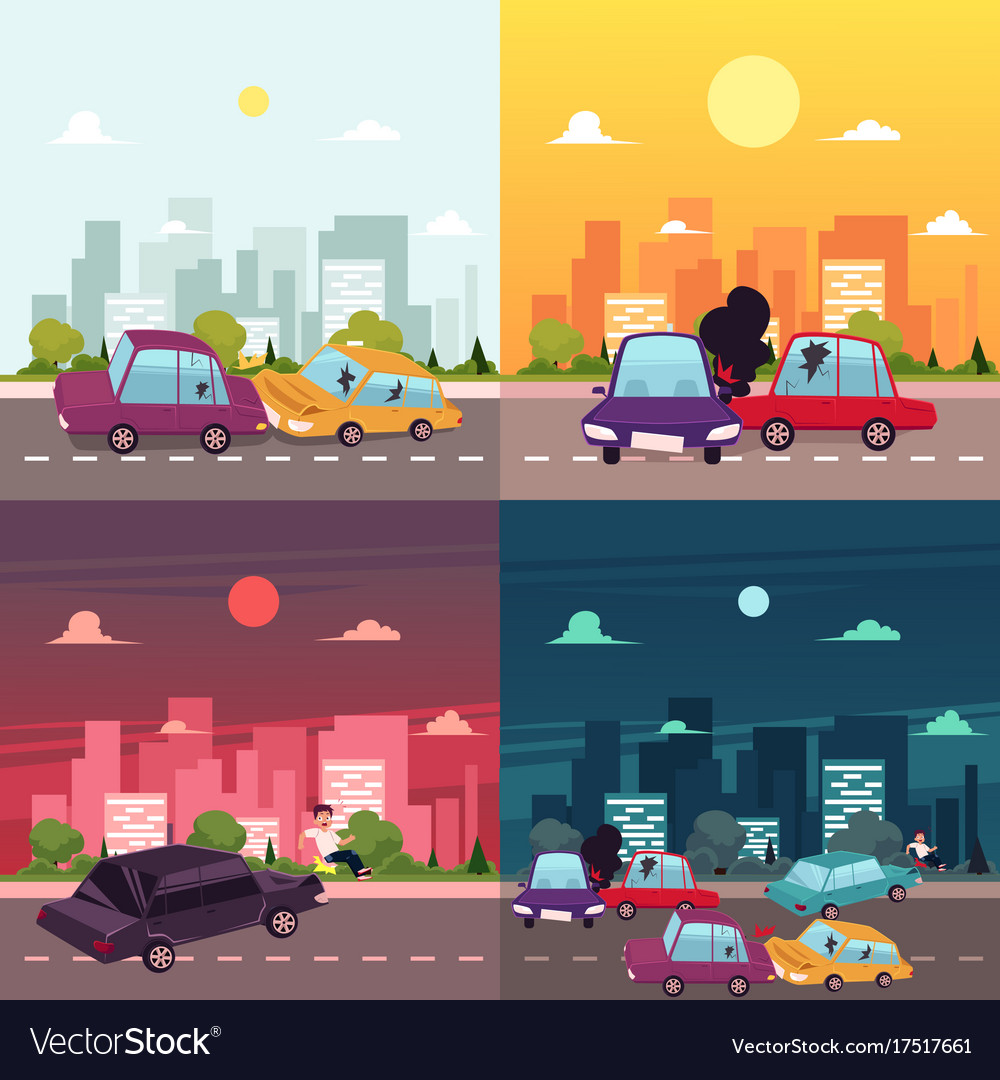 Flat cartoon car accident scene Royalty Free Vector Image