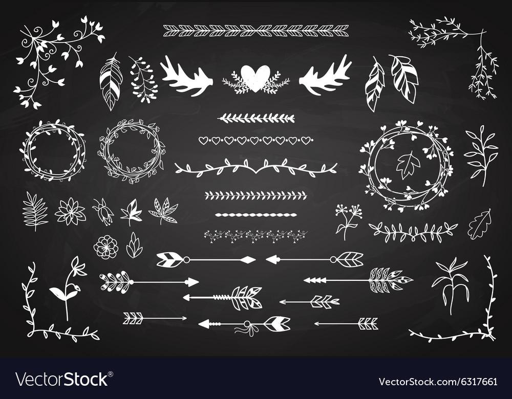 Floral boho element set vector image