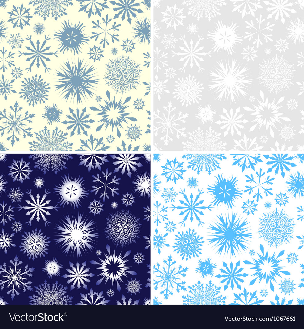Set of Seamless Snowflake Patterns vector image