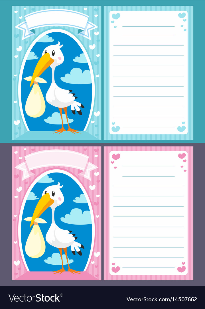Baby shower greeting invitation cards vector image