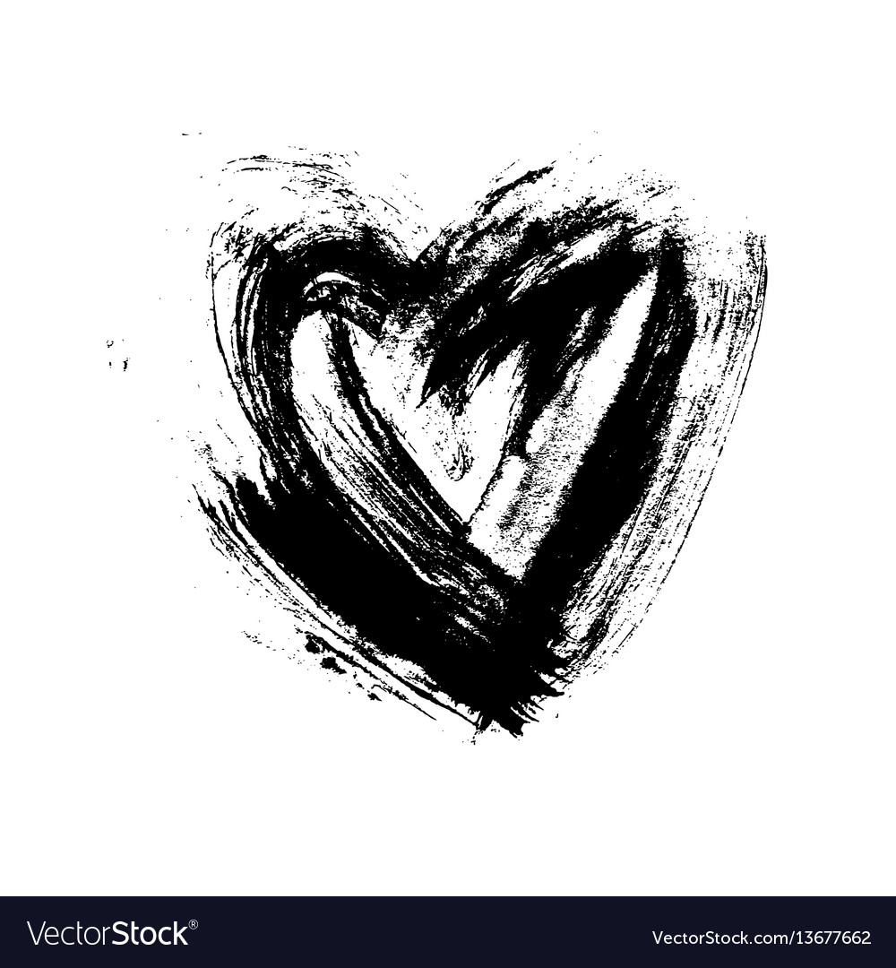 Grunge hand drawn ink heart valentine day dry vector image