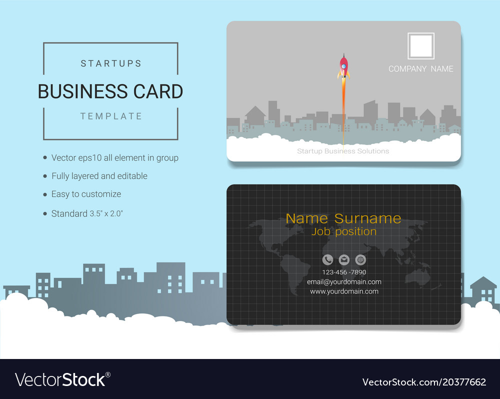 Startup business card or name card template vector image colourmoves Choice Image