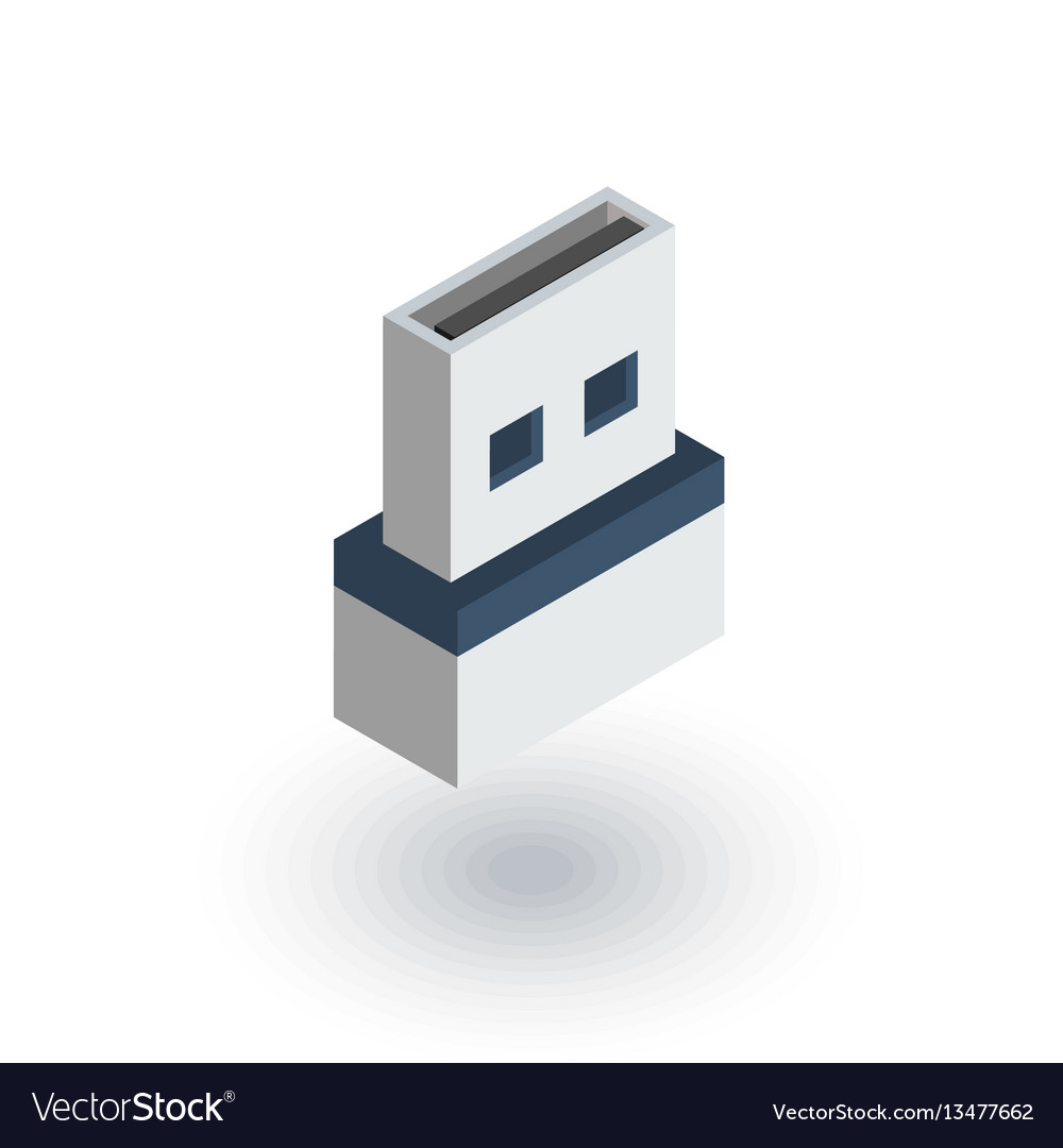 Usb flash drive isometric flat icon 3d vector image